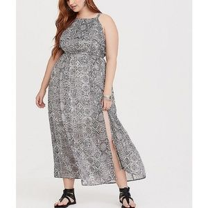 Torrid IKAT black and white chiffon maxi